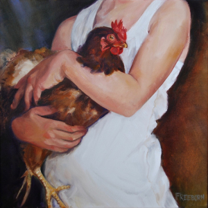 Gay Freeborn |    Mother Hen |  oil on canvas |  18 x 18 |  $1,100.