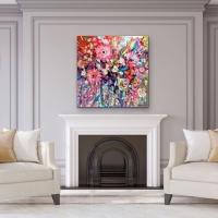 Blythe Scott    Full Bloom    Acrylic, mixed media, gold leaf on canvas    40 x 40  