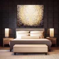Randall Stoltzfus    Corona    Acrylic dispersion and gold-leaf on recycled polymer canvas     48 x 60  