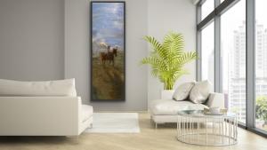 Gregory Prestegord    Girl on Horse    Oil on panel    59 x 20  
