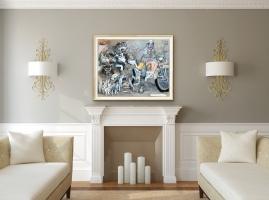 Robert A. Nelson    Wolf:Biker Winter Truce, 2019     Collage- pencil, colored pencil, aquamedia    32 x 40     $7,200.