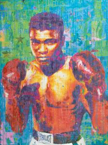 Jon Davenport |   Ali On Blue |   Mixed media |  36 x 48 |  $4,200.