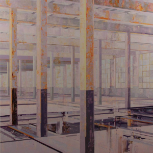 Michael Bartmann  |  Stehli Vacant VI, 2019 |  Oil on board |  48 x 48 |  $5,800.