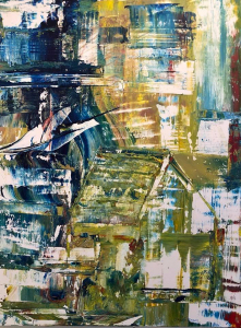 Sheila O'Keefe Braun |  #94 |  Acrylic painted with fingers/palette knives |  40 x 30 |  $3,000.